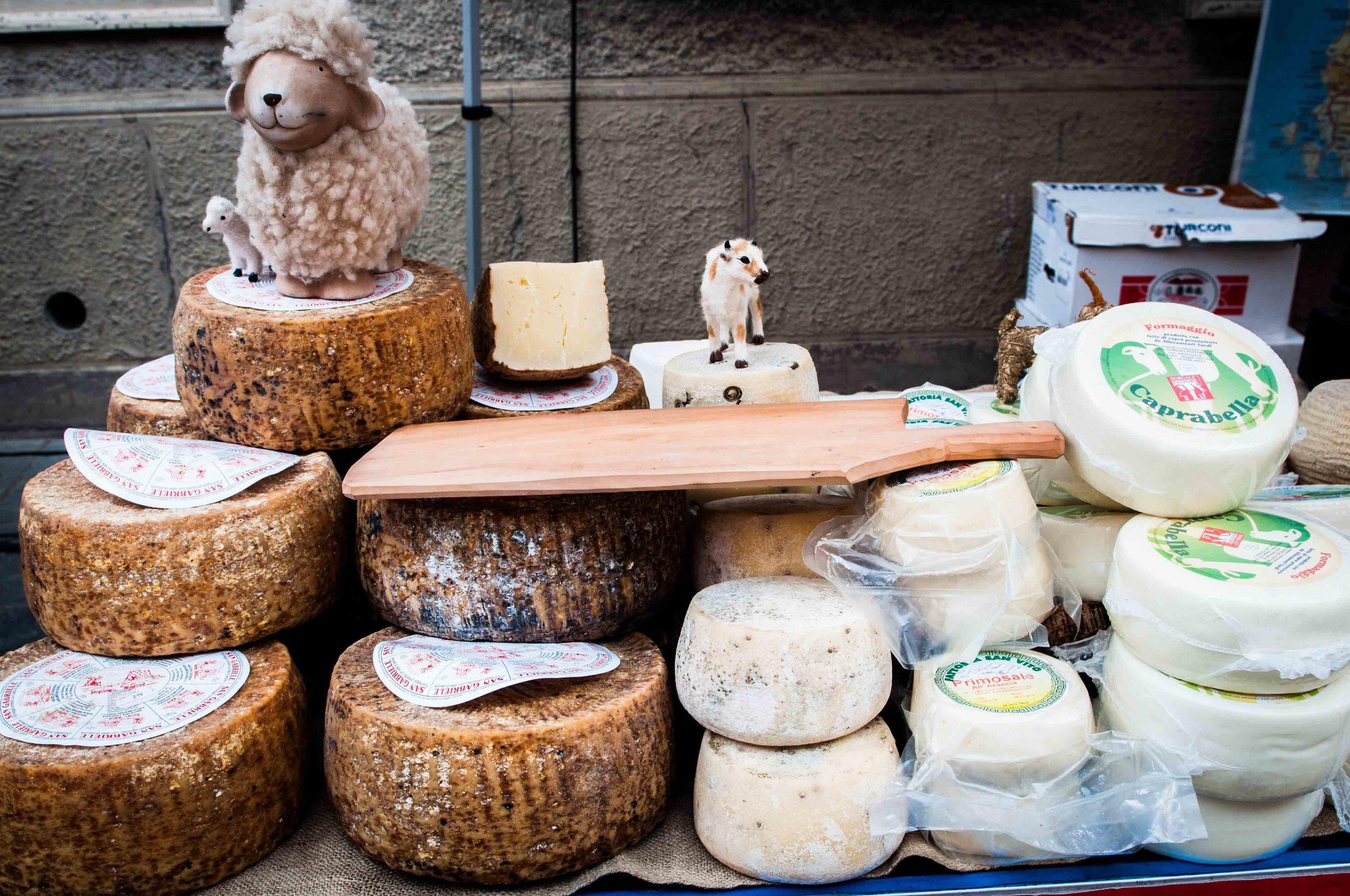 Sardinian Cheeses - Pecorino from sheep and truffled goat cheeses.