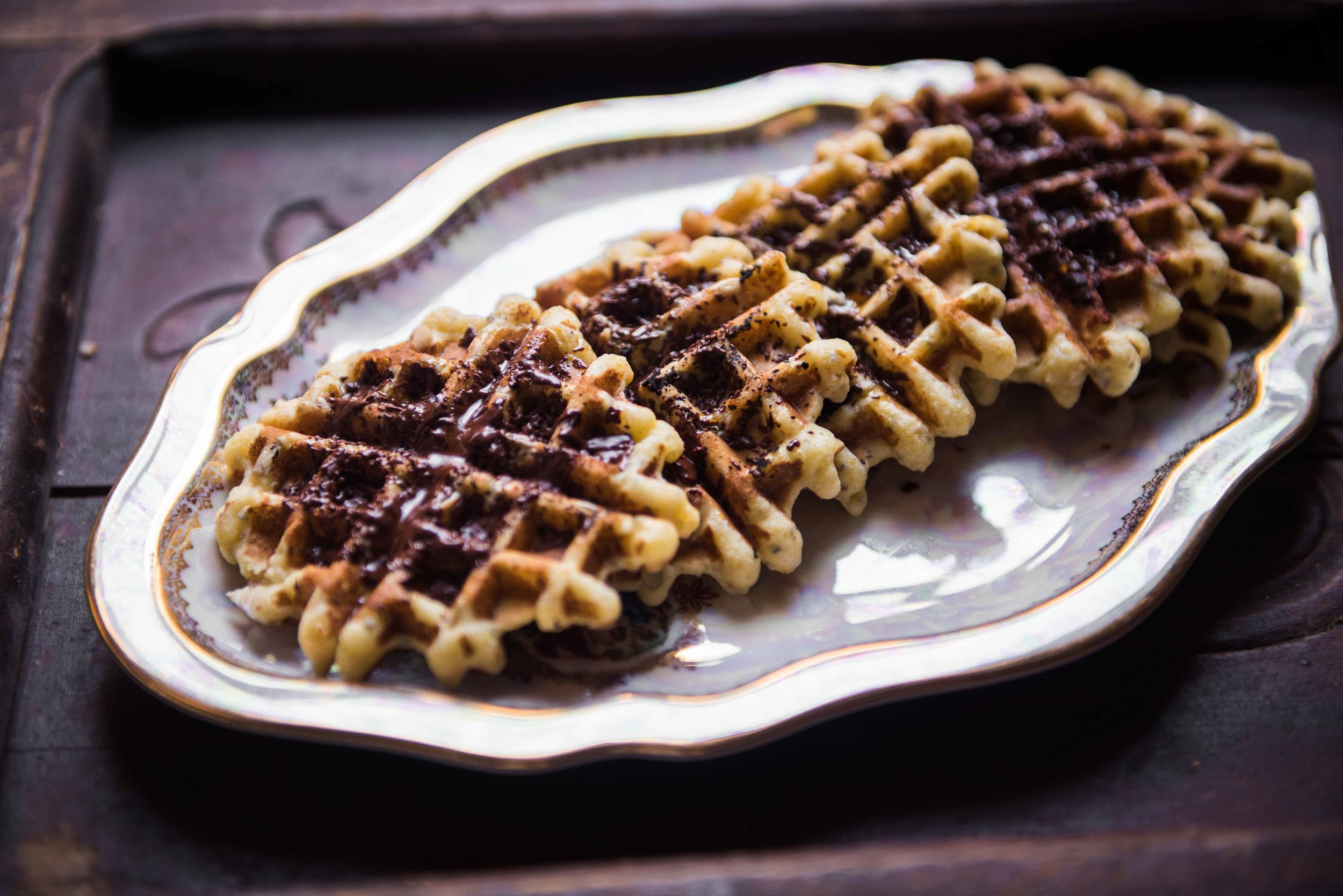 almond flour waffles with chocolate sprinkles