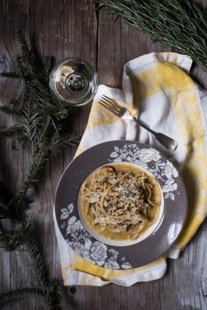 Spaghetti alla Carbonaro con Funghi - handful of cremini mushrooms2 egg yolks1 sprig of rosemary, leaves chopped fine1 cup grated parmigiano reggianospaghetti for two
