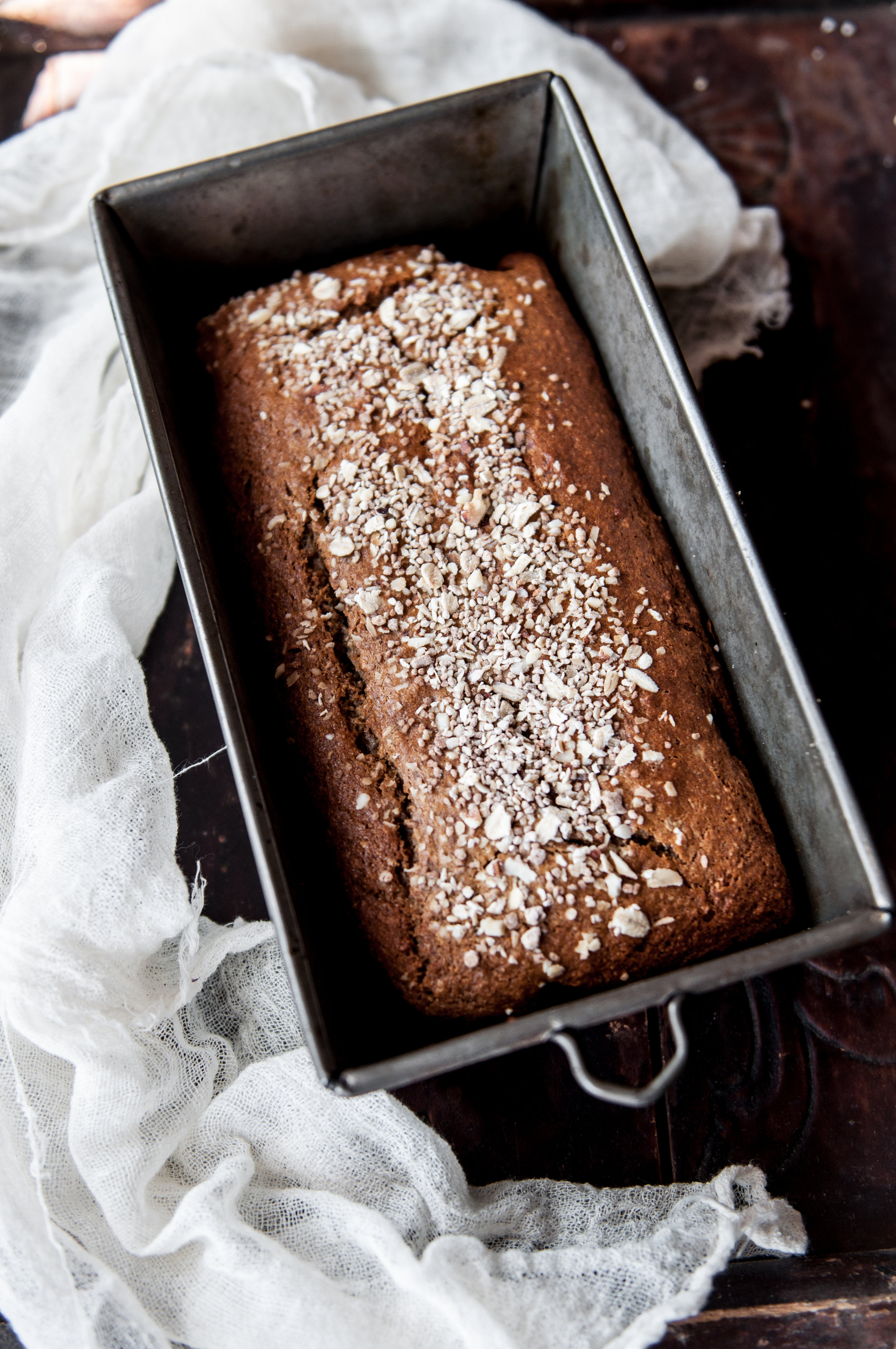 BANANA LOAF - 3/4 cup oat flour3/4 cup almond flour1 T potato starch2 small eggs1/2 cup sugar3 oz butter1 ripe banana1/4 cup + 1 tsp Greek style yogurt1 tsp baking sodaFor the frosting:1/4 cup Greek style yogurt1-1/2 tsp sugarenough water to thin
