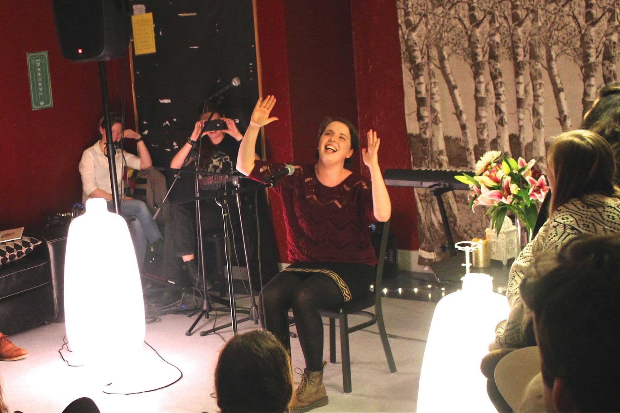 Megan Gilbs leads a rousing, sing-along rendition of Bohemian Rhapsody