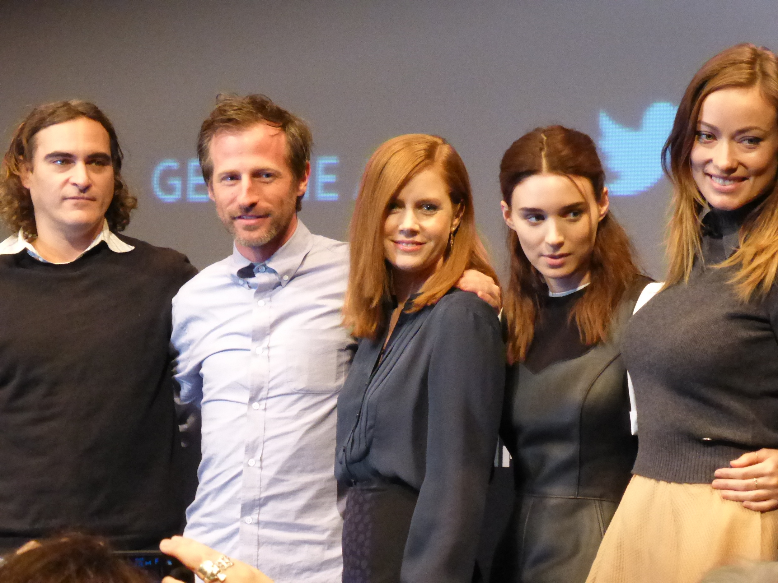 Cast of 'Her' from left to right: Joaquin Phoenix, Director Spike Jonze, Amy Adams, Rooney Mara, Olivia Wilde