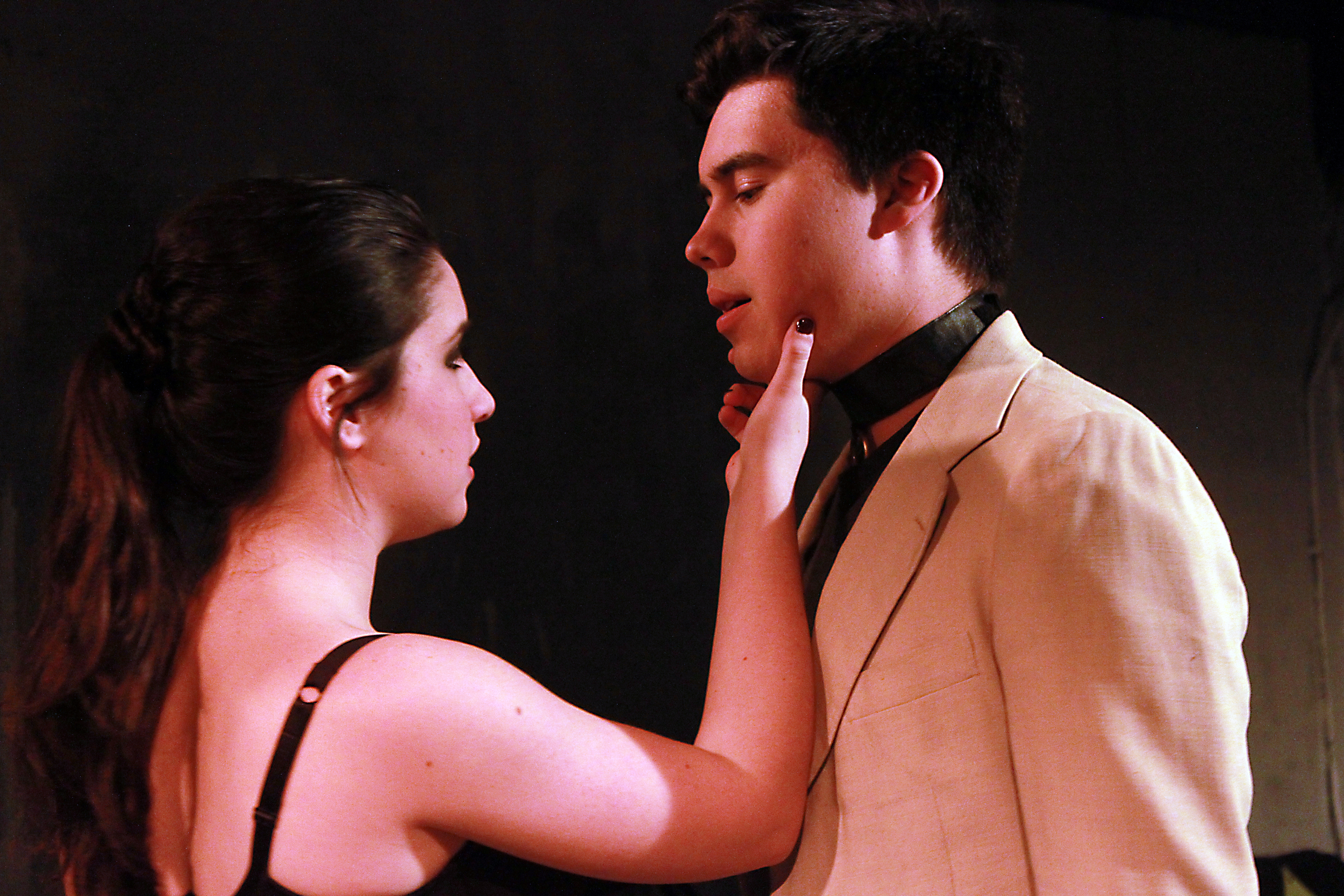 Montana Lampert-Hoover '14 and Alex Emond '16 convey the power dynamic of Thomas and Vanda's relationship in this scene from Venus in Furs.             Photo courtesy Minou Pourshariati