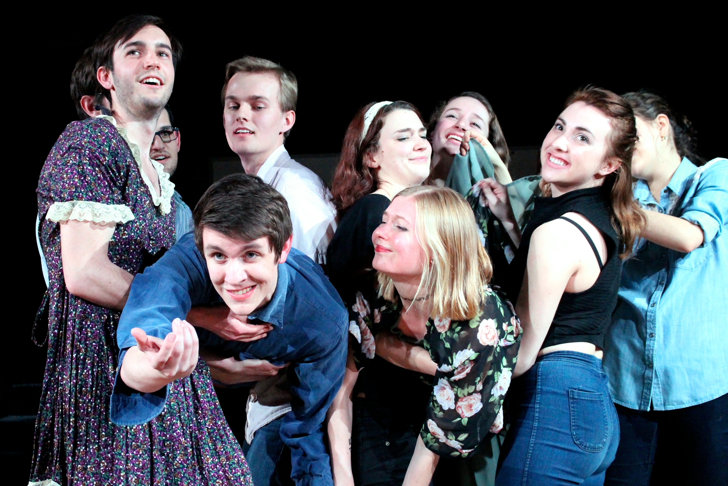 Sarah Lawrence's improv comedy troupe, Lampoon, performed a Superman-inspired sketch at a recent show. Photos by Ellie Brumbaum '17