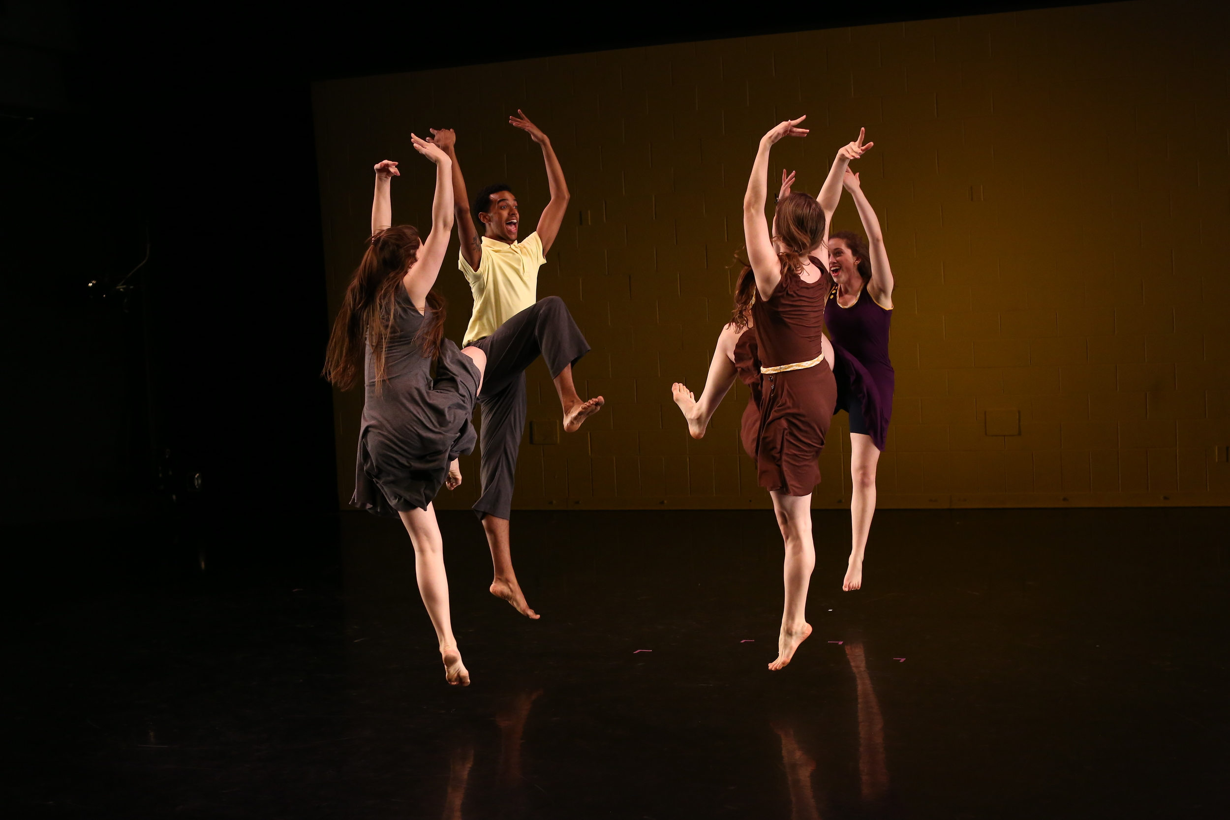 """Crossing Rivers,"" choreographed by Mor Mendel, grad '14,  features undergraduate dancers Julia Beros '17, Jonathan Gonzalez grad '14, EmmaGrace Skove-Epes grad '15, and Zoe Ulrich '16. Photo courtesy Paula Court."