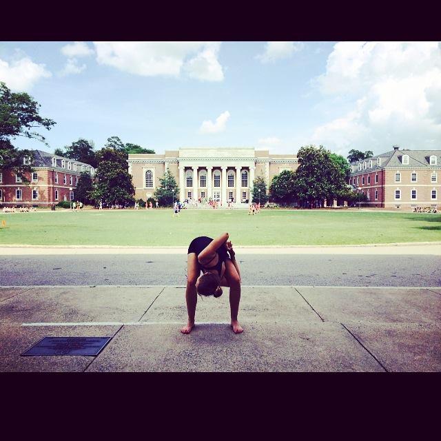 Sarah Steinhart '17 dances on the steps of a building at Duke University, during the American Dance Festival Summer Program that she and Bennett attended this summer.   Photo by Willa Bennett.