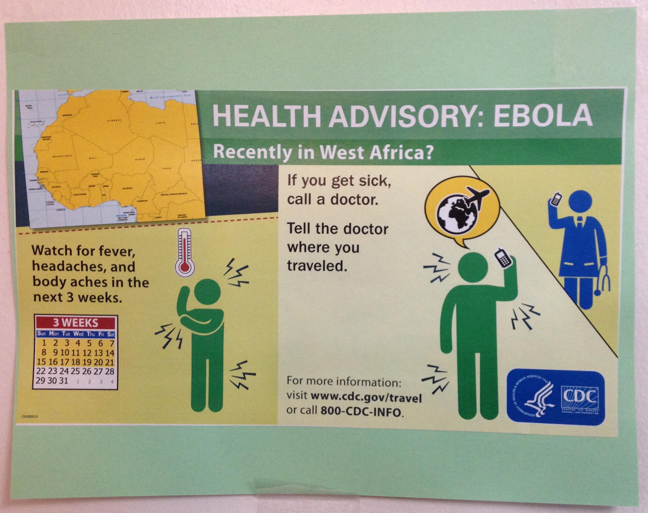 Advisory flier for Ebola in Health Services  Photo by Janaki Chadha '17
