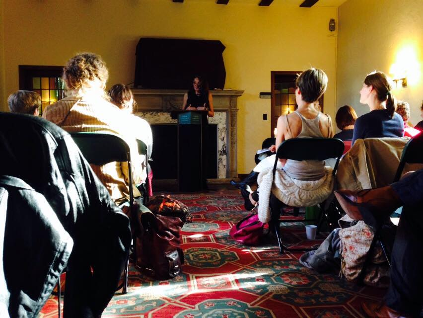 Mary Ruefle speaking to a group gathered in Slonim Living Room. Photo by Georganna Poindexter '17