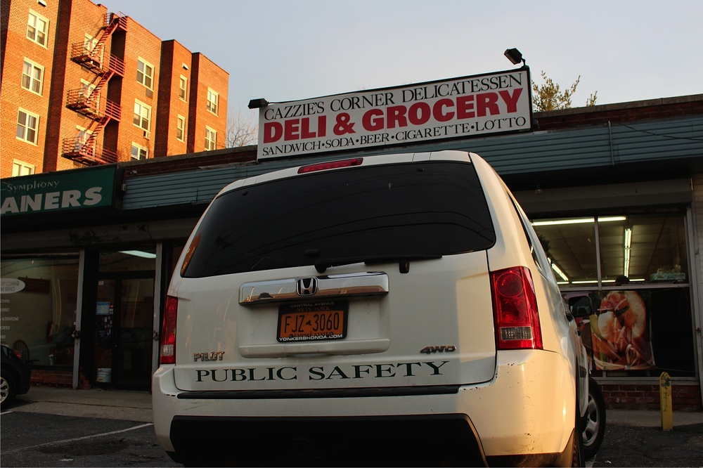 An SLC public safety vehicle near the Mobil gas station in Yonkers.   Photo credit: Ellie Brumbaum