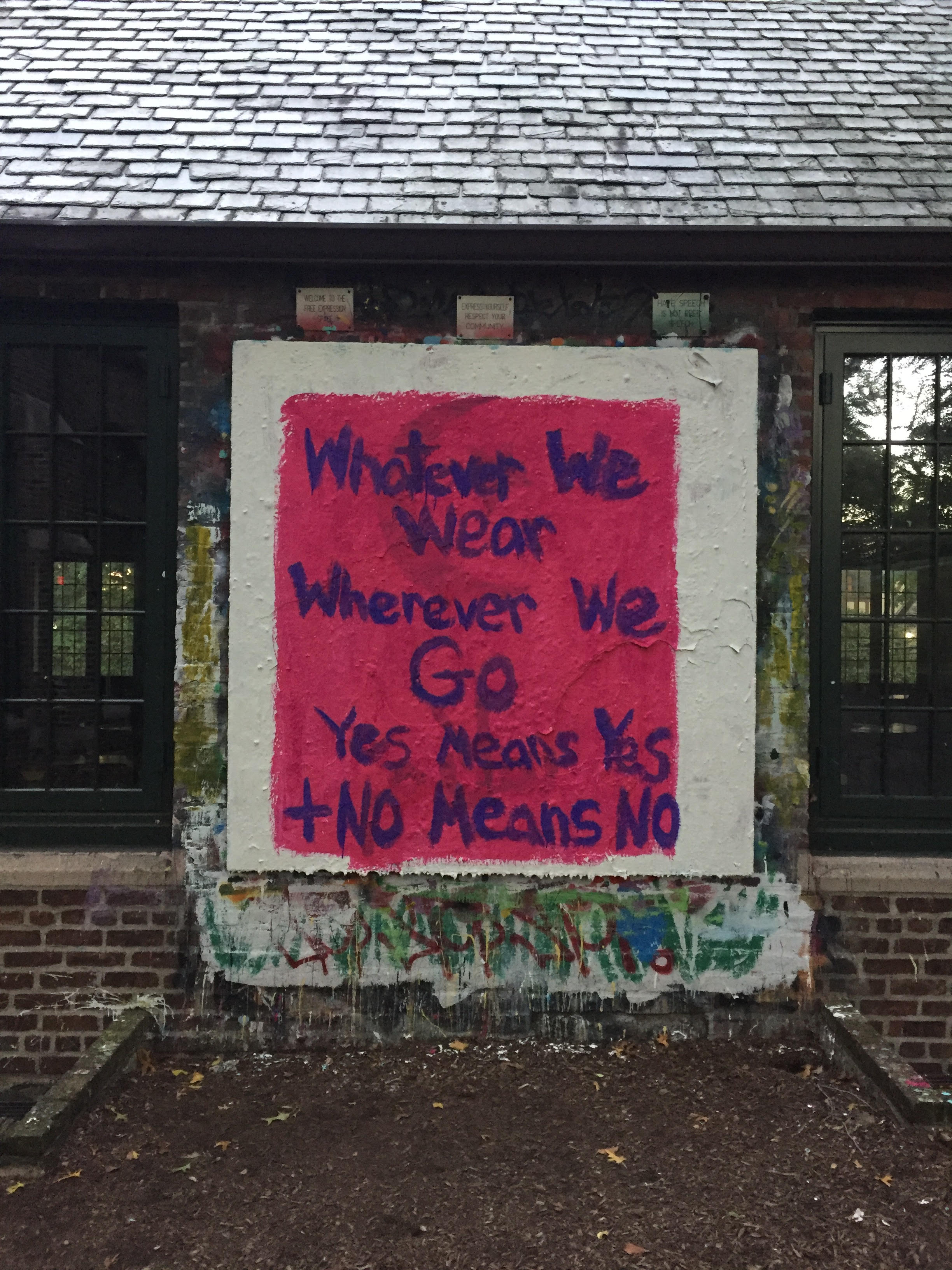The free speech board outside Bates painted during the Fall Week of Action. Photo credit: Olivia Diulus