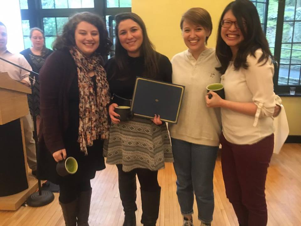 Co-chairs of Interfaith union winning the 2015-2016 outstanding program AWARD. courtesy of Sarah Lawrence College.