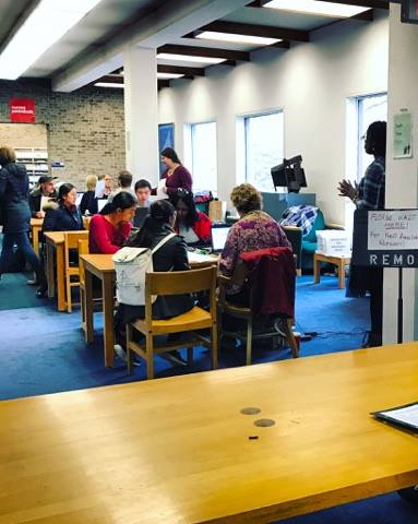 Spring semester registration taking place in the library. Photo credit: Nimmi Hamid '17
