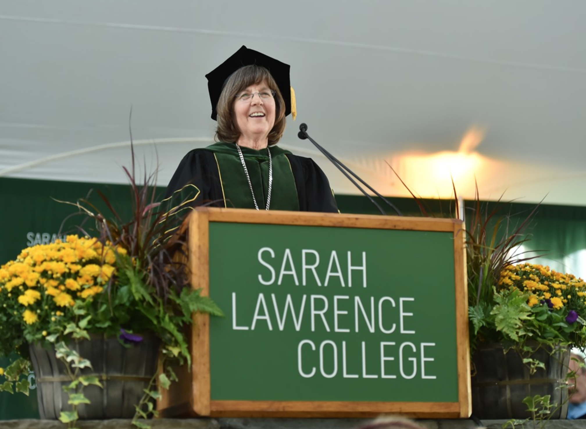 president judd at the inaugural ceremony. photo courtesy of sarahlawrence.edu