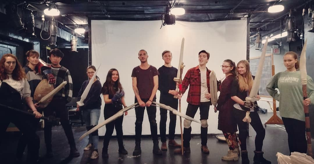 Thor Mandanis (center, with bow) surrounded by the cast of She Kills Monsters. Credit: Sean Devare