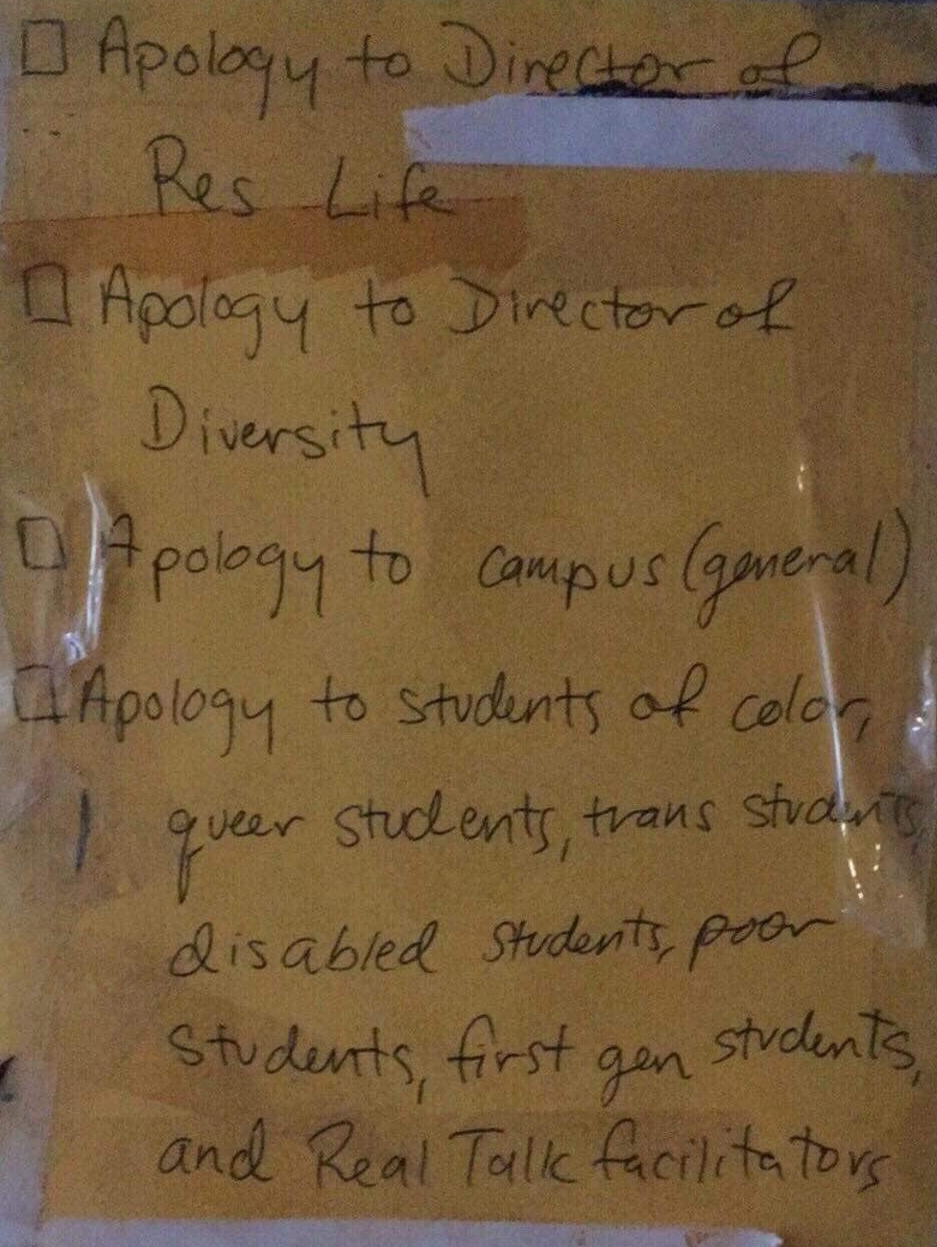 A check-list of apologies to be made post on Abrams' door.