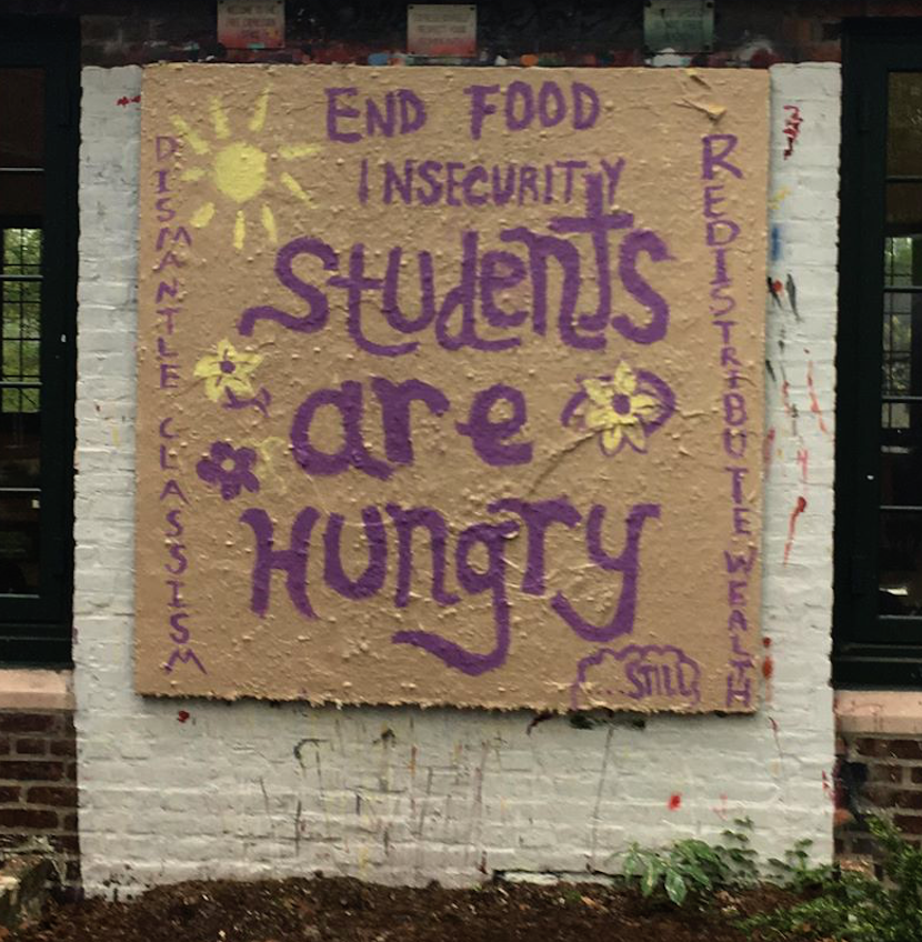 Free Speech Board message regarding Food Insecurity. Photo credits:  Jerry O'Mahony