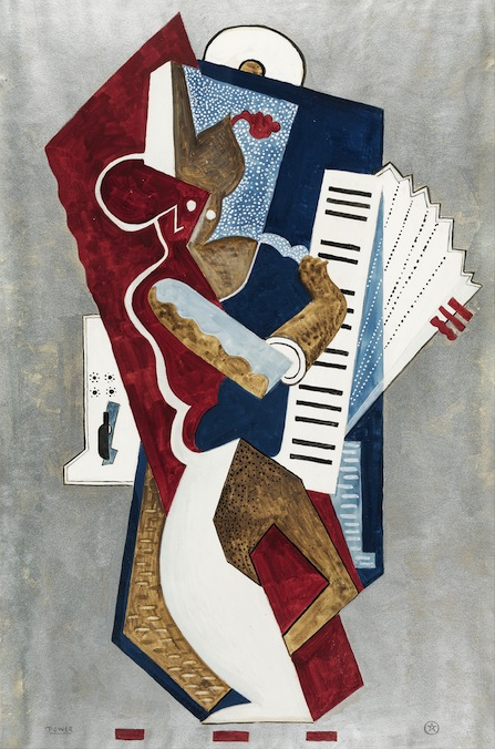 John wardell power abstract accordionist watercolour gouache painting