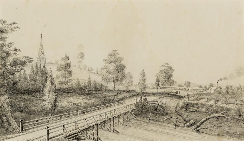 Thomas Woore, (Cowpastures) Bridge & Village of Camden 1842