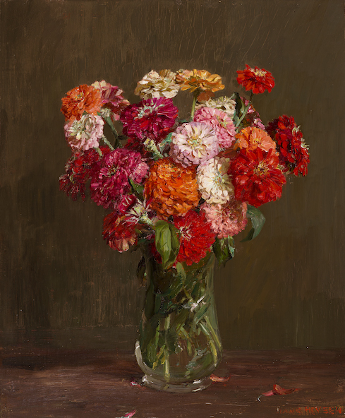 Hans Heysen Zinnias c1920 oil painting