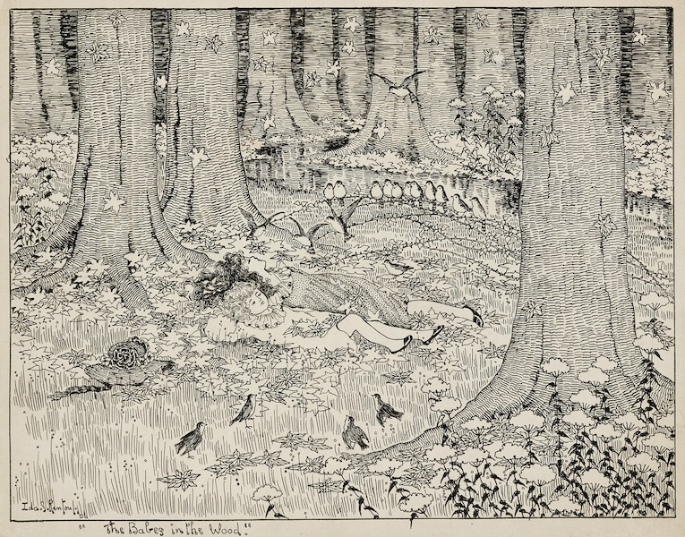 Ida Rentoul Outhwaite The Babes in the Wood 1906 ink pencil drawing