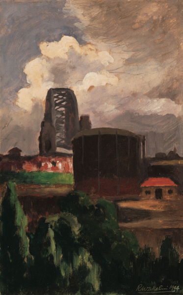 Roland Wakelin Harbour Bridge Looking South 1944 oil painting