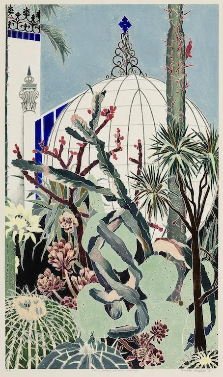 Cressida Campbell Cactii Botanic Gardens Adelaide 1987 woodblock print