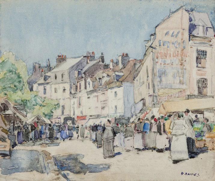 David Davies Dieppe Market watercolour art