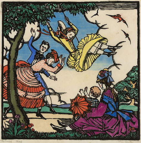 Thea Proctor The Swing 1925 woodcut art
