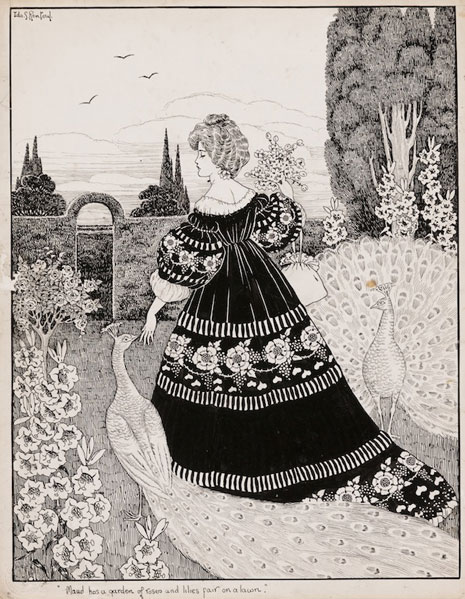 Ida Rentoul Outhwaite Maud has a garden of roses and lilies fair on a lawn c1906 drawing