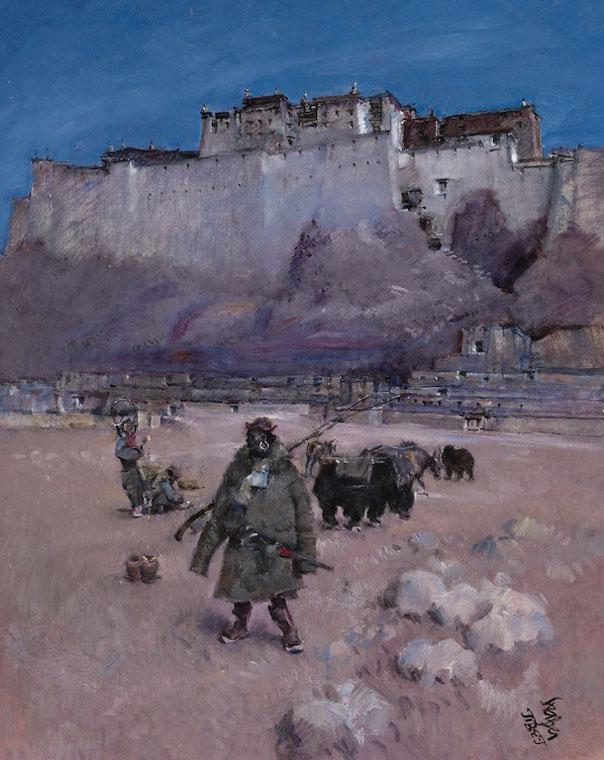 Roland Strasser art Tibet Potala Palace c1926 oil painting