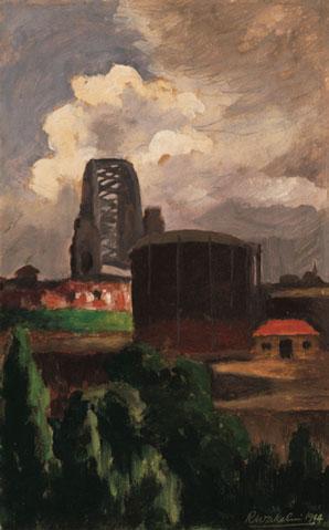 Roland Wakelin Harbour Bridge Looking South 1944 oil painting