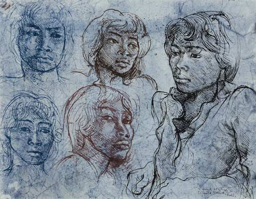 Donald Friend Head Studies c1974 ink and watercolour on paper