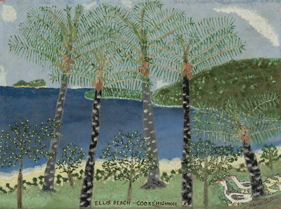 Charles Callins art Ellis Beach Cooks Highway N.Q. 1964 oil painting
