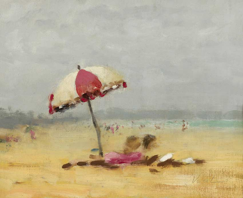 Hayward Veal Beach Scene oil painting