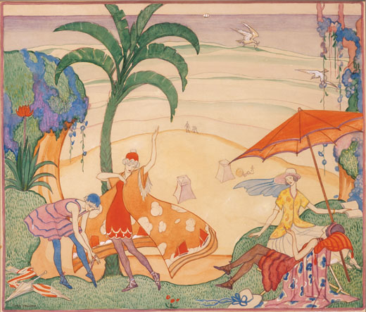 Thea Proctor The Seaside The Bathers c1923 pencil, ink, pen and watercolour on paper art