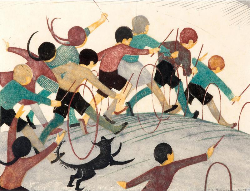 Ethel Spowers Children's Hoops 1936 linocut art