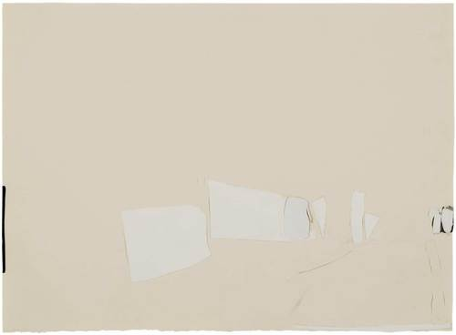 BRETT WHITELEY - (Cream) Montmartre 1989, paper collage 54.5 x 75.0 cm
