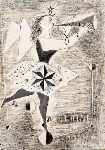 Elaine Haxton - Design for Christmas Card and Tourrettes Sur Loup c1950