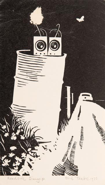 Eric Thake, Roadside Bunyip 1973, linocut 21.0 x 14.0 cm