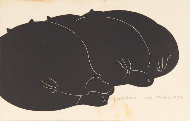 Eric Thake,  HIPPOBOTTOMI 1974, linocut 14.0 x 21.0 cm