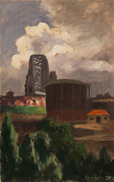 Roland Wakelin, HARBOUR BRIDGE LOOKING SOUTH 1944   oil on board 29.0 x 17.0 cm