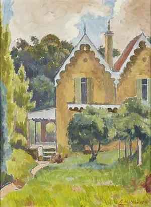 Roland Wakelin, THE DESERTED HOUSE, 1936    oil on board 49.5 x 36.0 cm