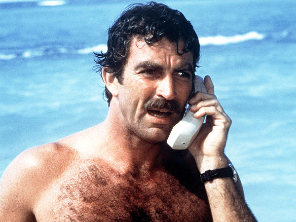 Tom Selleck. Why wouldn't you use a cordless phone on the beach?