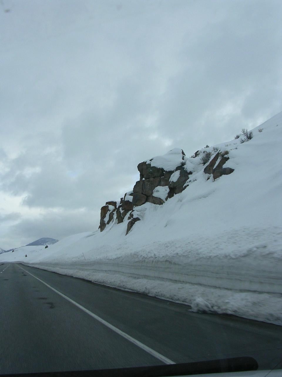 Snowy roadside on Hwy. 395