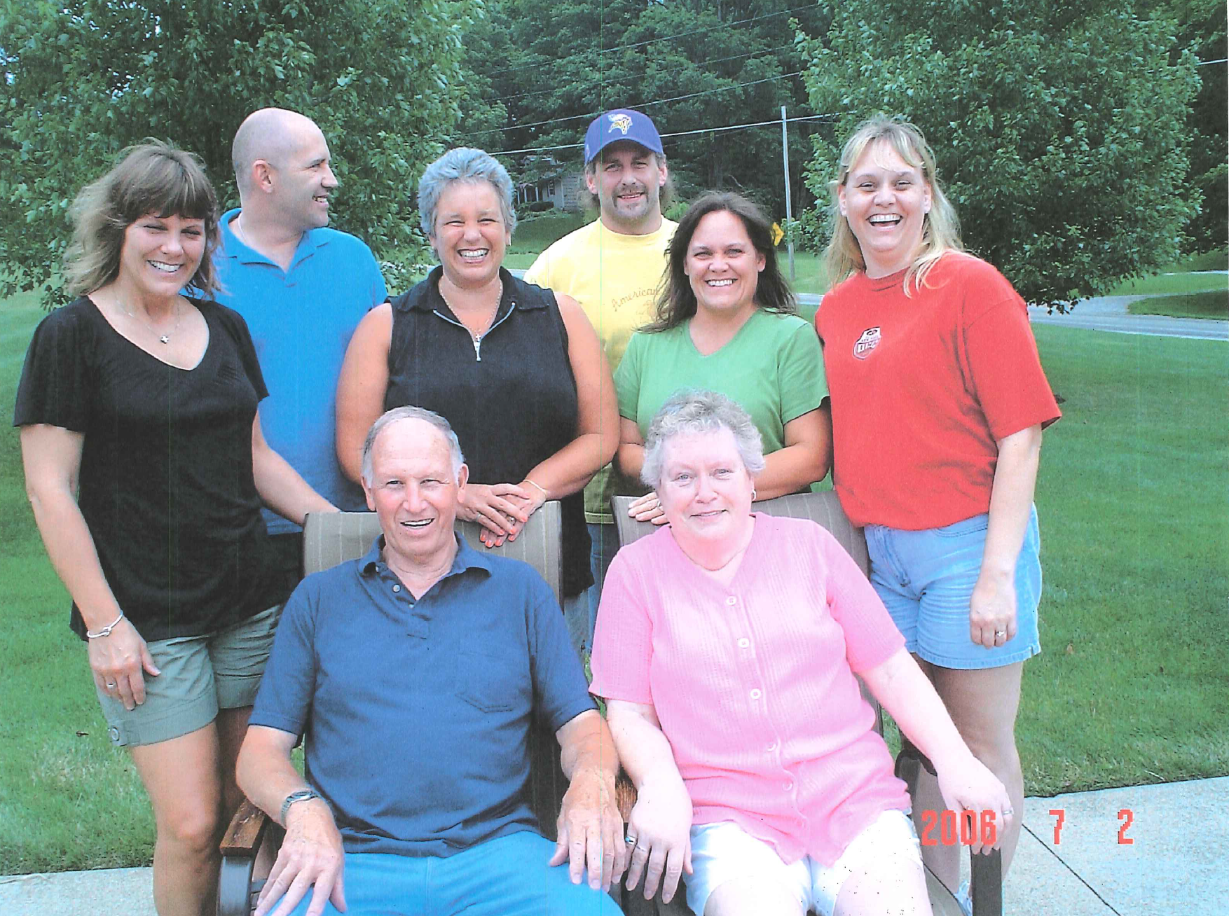 Pat (front, right) and family