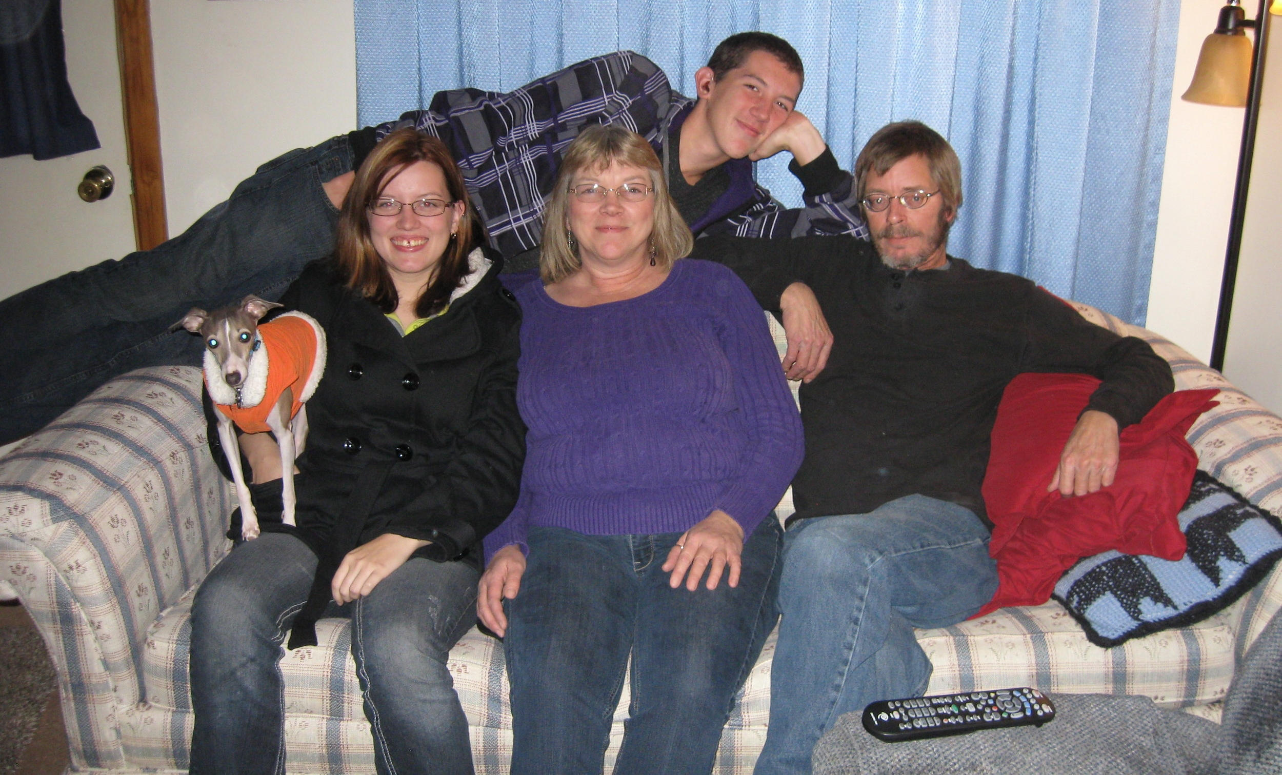 Sandy (front, center) and family