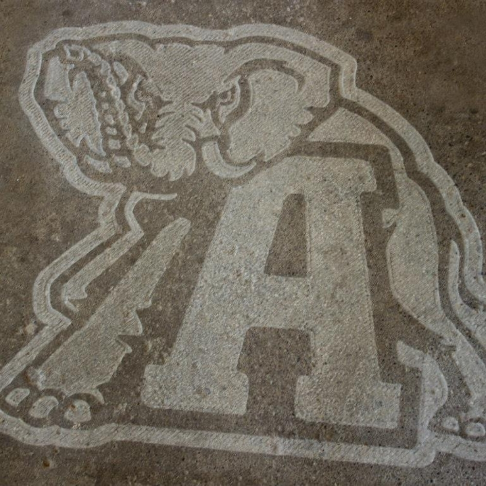 Sports team logo concrete engraving