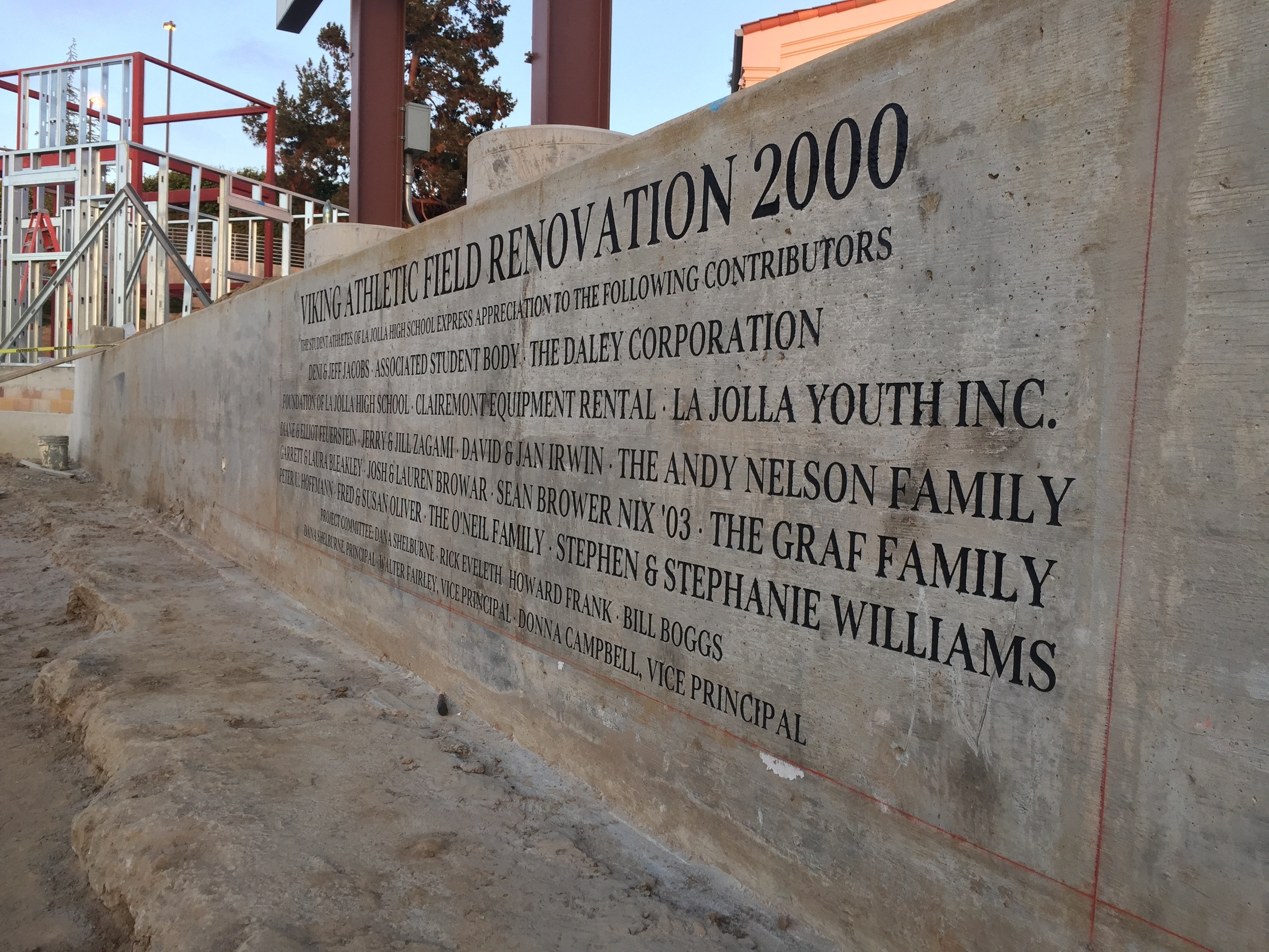La Jolla High School Existing Wall Concrete Engraving