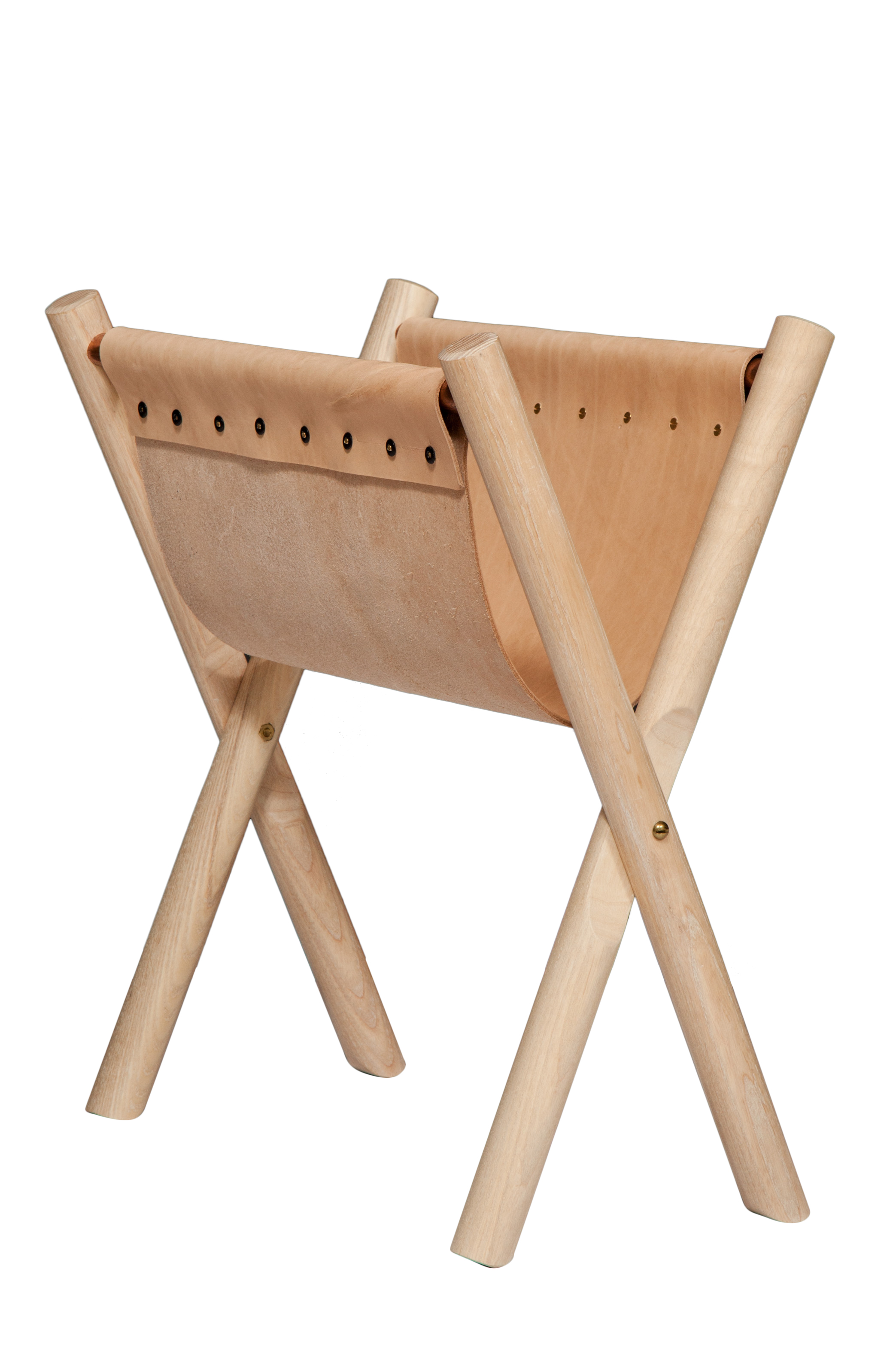 "Nude leather Cerused ash Brass hardware 12""H x 22"" W x 19"" D  Shown in magazine rack position"