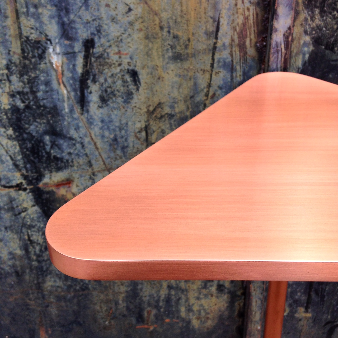 "Brushed copper triangle top  22"" H x 15"" W x 15"" D"
